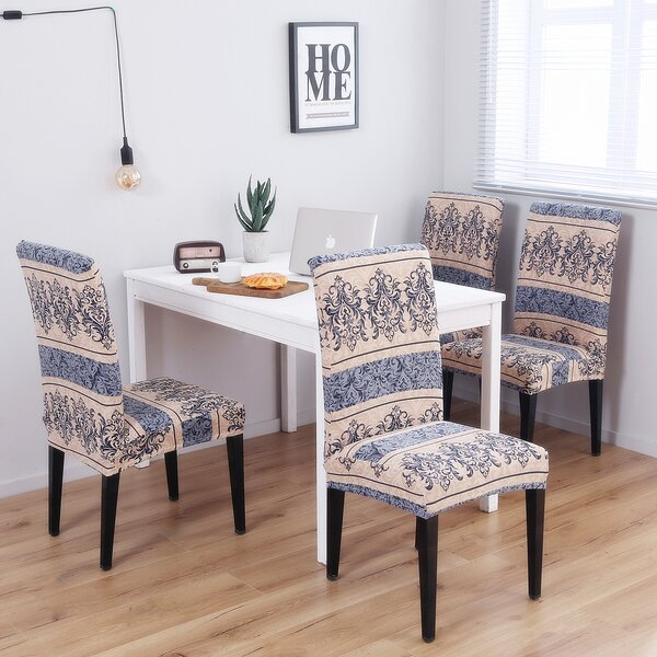 Pattern Soft Elegant Spandex Fabric Stretch Box Cushion Dining Chair Slipcover (Set of 4) by House of Hampton
