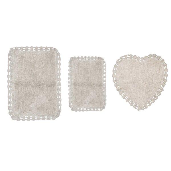 Georgine Heart Rectangle 100% Cotton Non-Slip piece Bath Rug Set