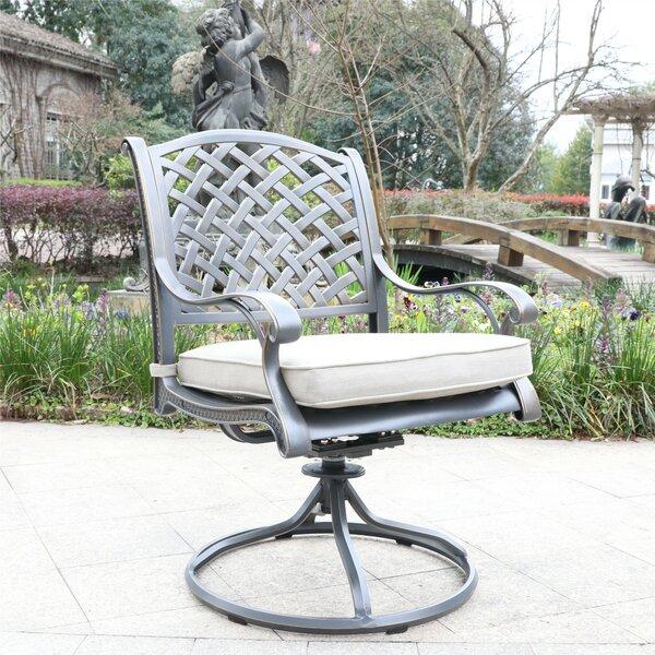 Waddington Swivel Patio Dining Chair with Cushion (Set of 2) by Fleur De Lis Living