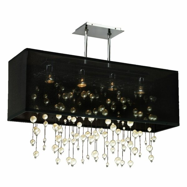 Fran 4 - Light Shaded Square / Rectangle Chandelier With Beaded Accents By Everly Quinn