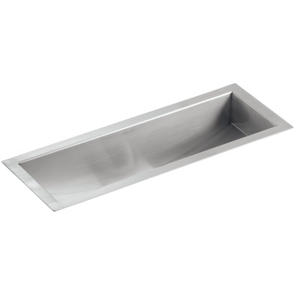Undertone 22 L x 8-1/4 W x 5-1/4 Under-Mount Single-Bowl Trough Kitchen Sink by Kohler