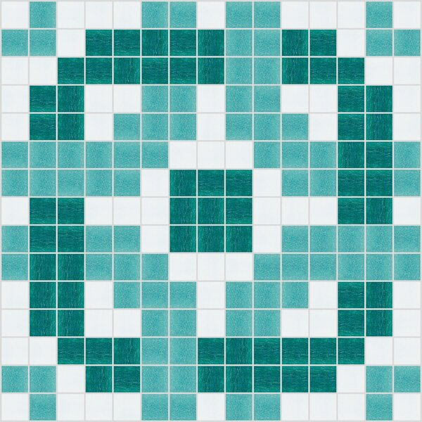 Urban Essentials Rounded Lattice 3/4 x 3/4 Glass Glossy Mosaic in Deep Teal by Mosaic Loft