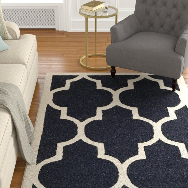 Parker Lane Hand-Tufted Wool Black/Ivory Area Rug by Darby Home Co