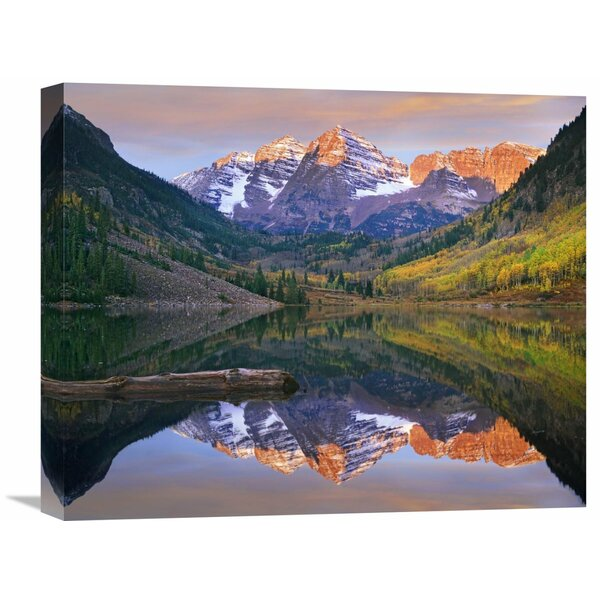 Nature Photographs Maroon Bells Peaks Reflected in Maroon Lake, Snowmass Wilderness, Colorado by Tim Fitzharris Photographic Print on Wrapped Canvas by Global Gallery