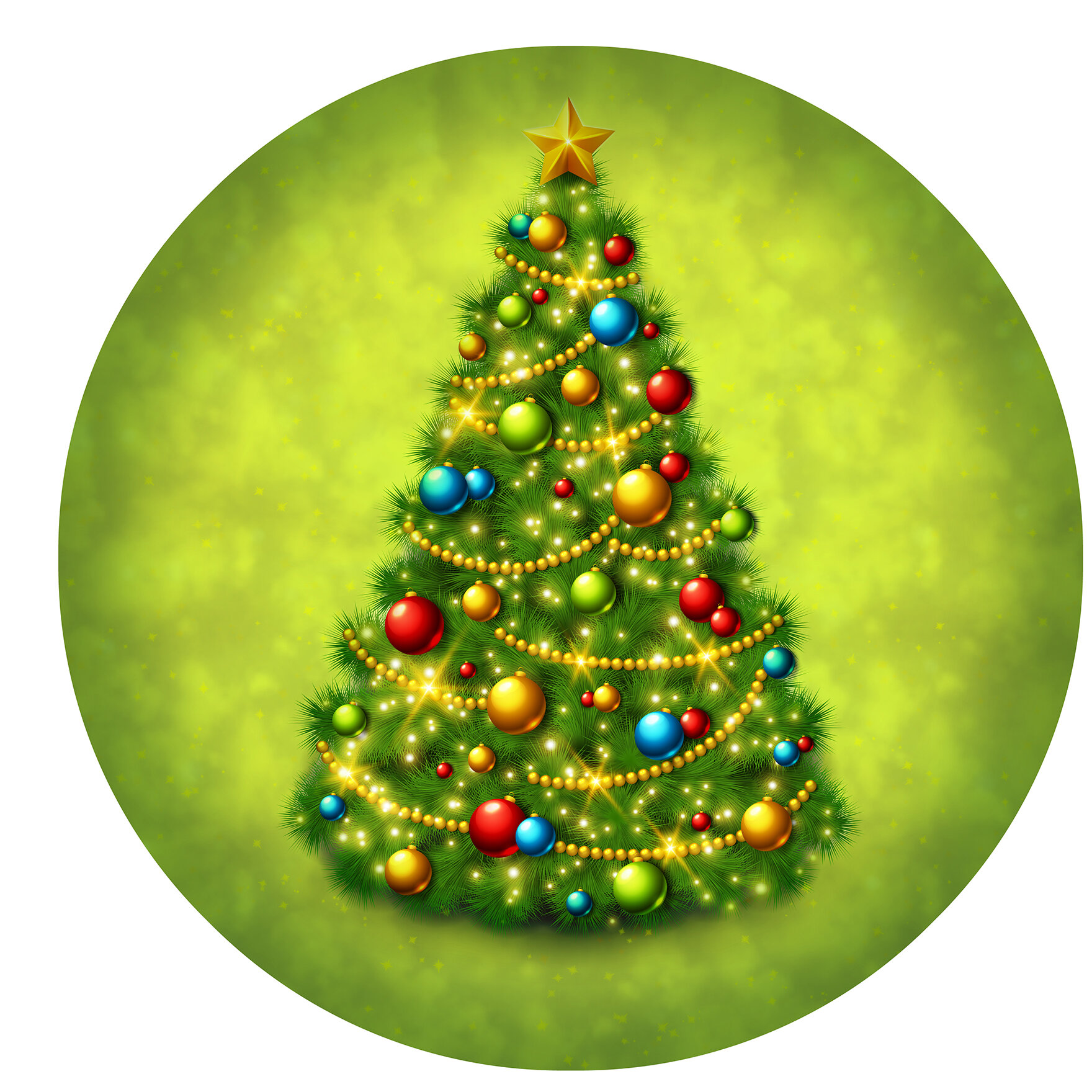 Christmas Tree Round Wall Decor