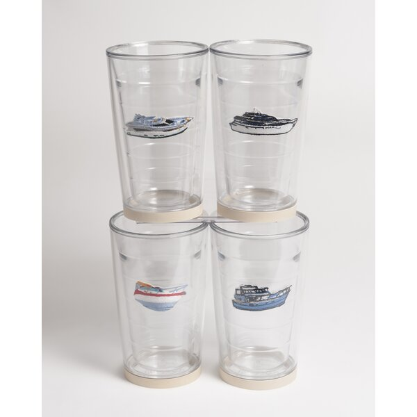 Newport Power Boat Non-skid 4 Piece 16 oz. Plastic Every Day Glass Set by Galleyware Company