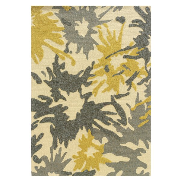 Frasher Hand-Tufted Yellow/Gray Outdoor Area Rug by Wrought Studio