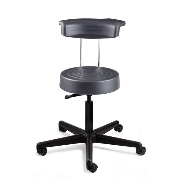 Käerjeng Height Adjustable Stool with Backrest and Dual-Wheel Hard Floor Casters