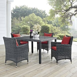 Alaia 5 Piece Rattan Sunbrella Dining Set with Cushions By Brayden Studio