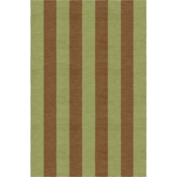 Fowkes Stripe Hand-Woven Wool Olive/Brown Area Rug by Red Barrel Studio