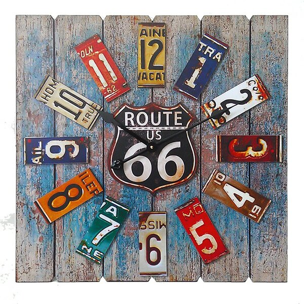 Square Route 66 MDF and Metal Clock by ESSENTIAL DÉCOR & BEYOND, INC