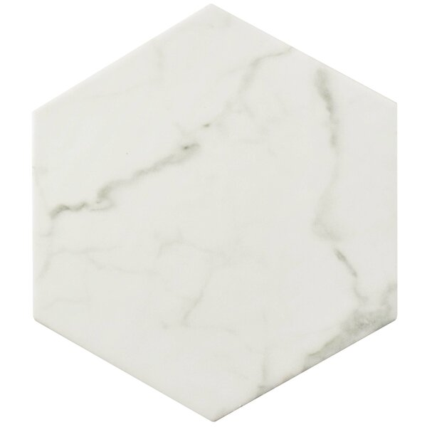 Karra Carrara 7 x 8 Porcelain Field Tile in White/Gray by EliteTile