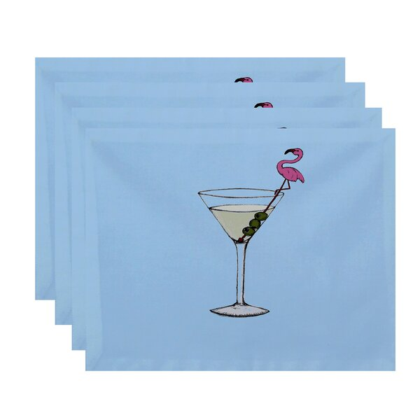 Felice Martini Glass Flamingo Placemat (Set of 4) by Ivy Bronx