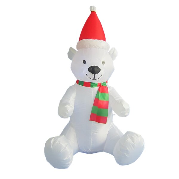 Christmas Inflatable Polar Bear with Christmas Hat by The Holiday Aisle