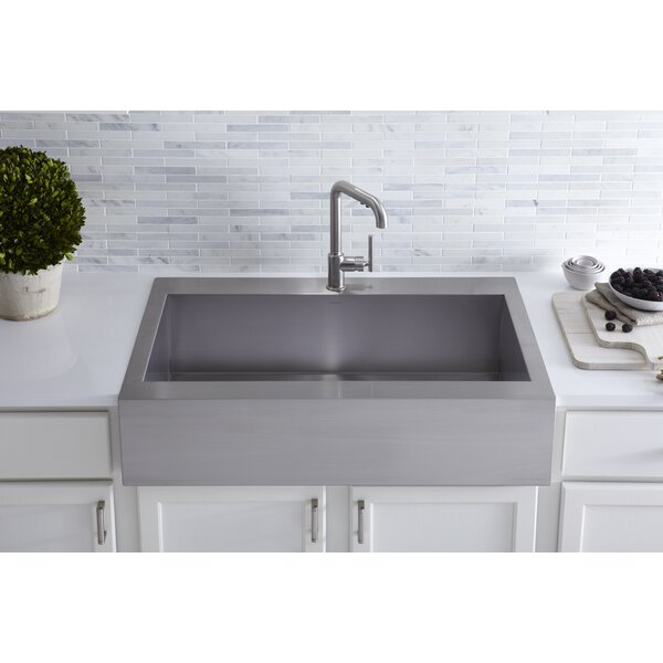 Vault Top-Mount Single-Bowl Stainless Steel Kitchen Sink with Shortened Apron-Front for 36Cabinet by Kohler