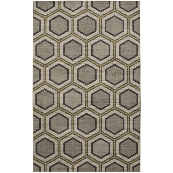Honeycomb Graphite Gray Area Rug by Brayden Studio