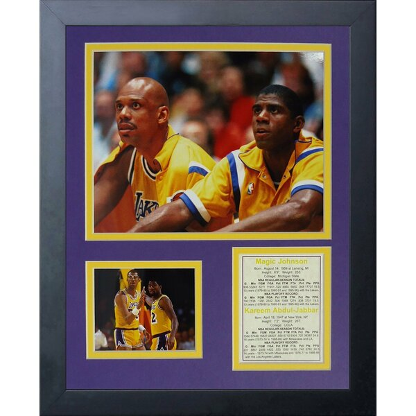 Kareem Abdul-Jabbar and Magic Johnson Framed Memorabilia by Legends Never Die