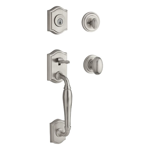 Westcliff Single Cylinder Handleset with Traditional Round Rose and Round Interior Knob by Baldwin