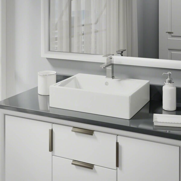 Vitreous China Rectangular Vessel Bathroom Sink with Faucet and Overflow