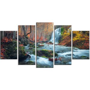 'Fall Waterfall in Crimea Hills' 5 Piece Graphic Art on Wrapped Canvas Set by Design Art