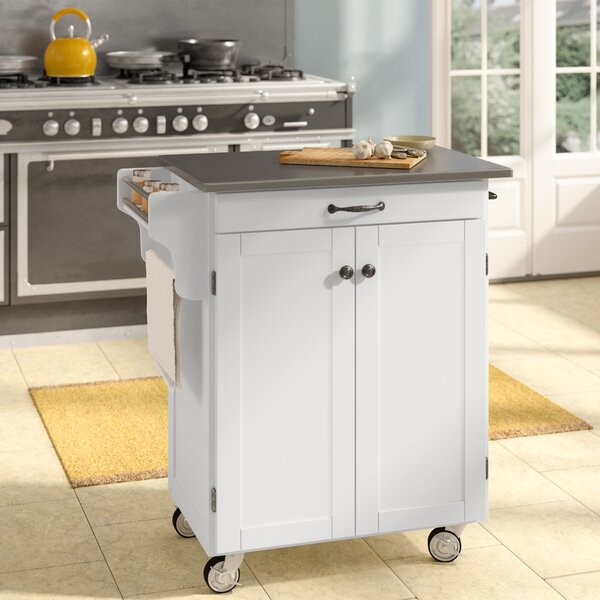 Savorey Kitchen Cart with Stainless Steel Top by August Grove