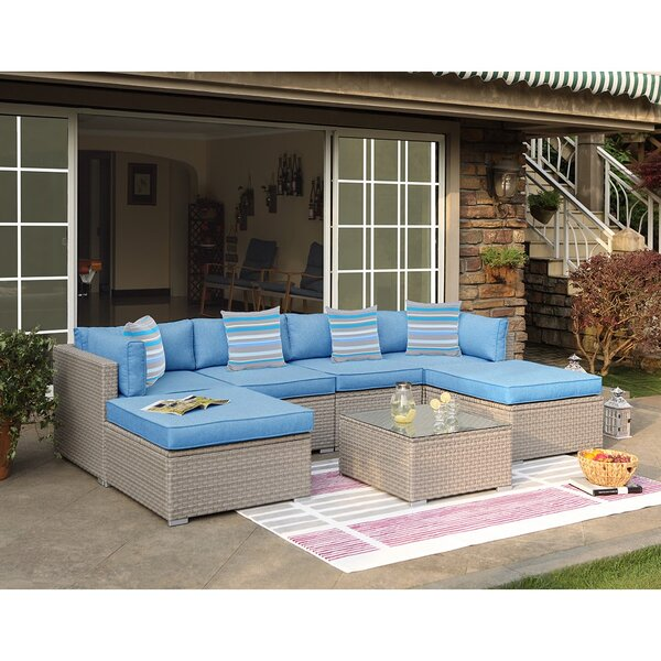 Merlin Outdoor Furniture 7 Piece Rattan Sectional Seating Group with Cushions by Rosecliff Heights