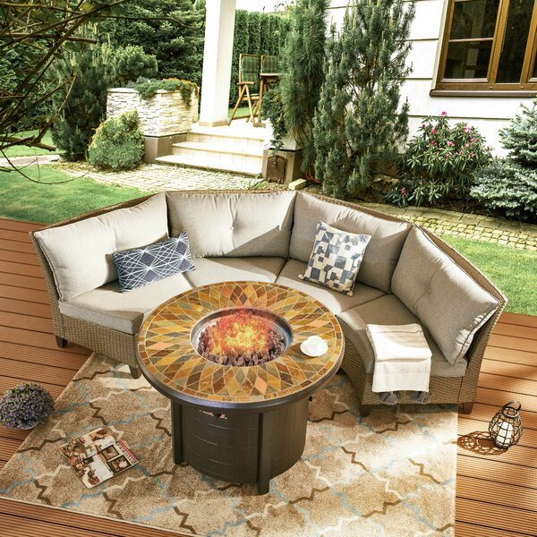 Sabra 5 Piece Rattan Sofa Seating Group with Cushions by Highland Dunes