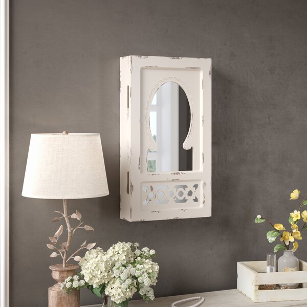 Jacques Shabby Elegance Wall Mounted Jewelry Armoire with Mirror by Lark Manor