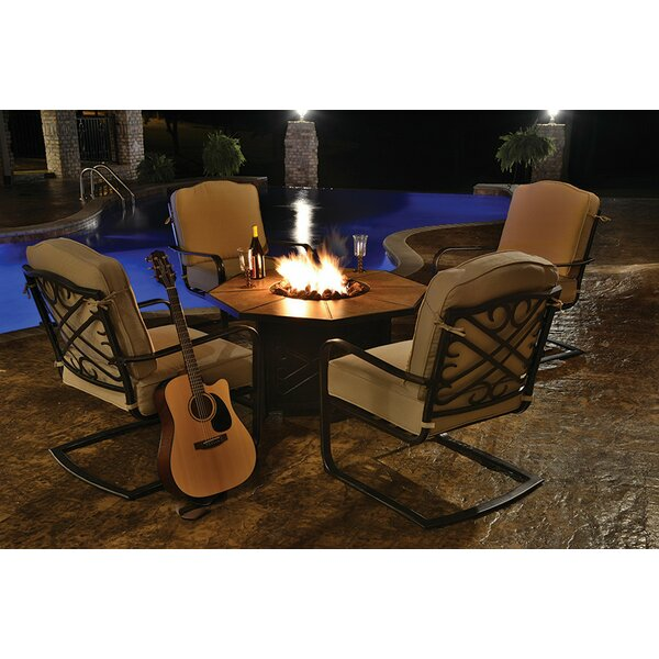Harmony 5 Piece Bar Height Dining Set with Cushions and Firepit by Northlight Seasonal