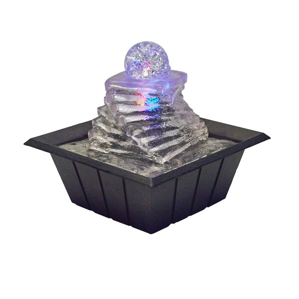 Resin Spiral Ice Table Fountain with Light by ORE Furniture