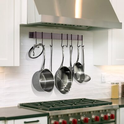 """Rack It Up! Utensil Bar Wall Mounted Pot Rack with Hook Size: 2"""" H x 34"""" W x 1.5"""" D, Finish: Bordeaux"""