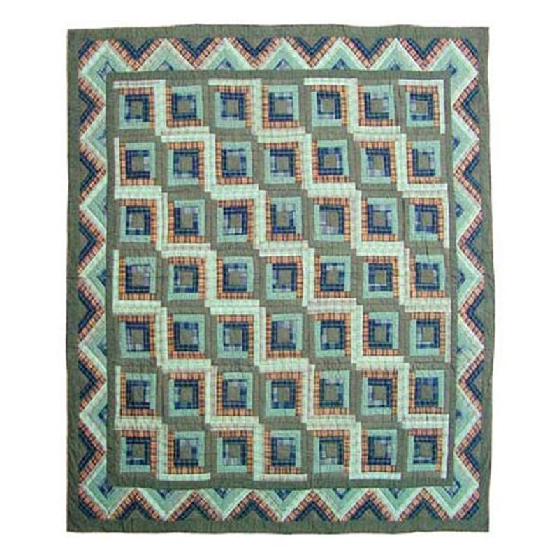 Green Log Cabin Single Reversible Quilt by Patch Magic
