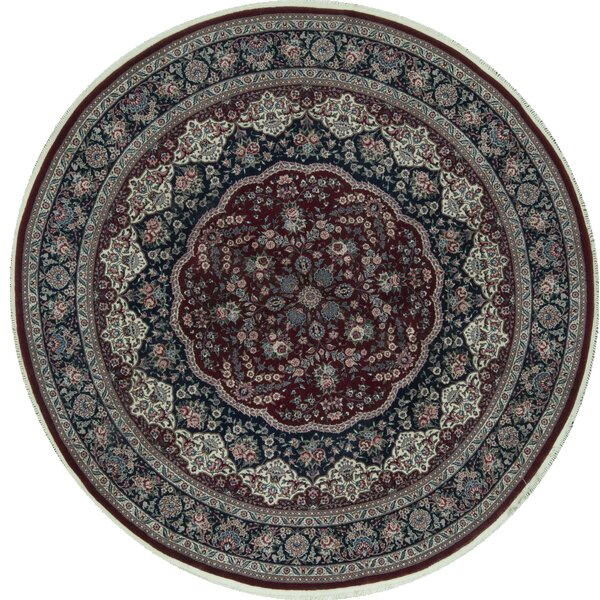 Round Oriental Hand-Knotted 8' x 8' Wool Wine/Navy Area Rug