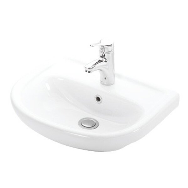 Basic Ceramic 20 Wall Mount Bathroom Sink with Faucet and Overflow by WS Bath Collections
