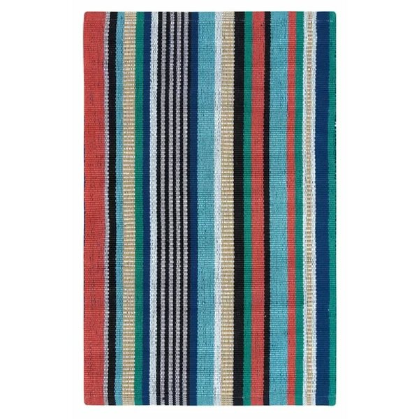 Farmhouse Stripe Hand-Woven Red/Green Indoor/Outdoor Area Rug by CompanyC