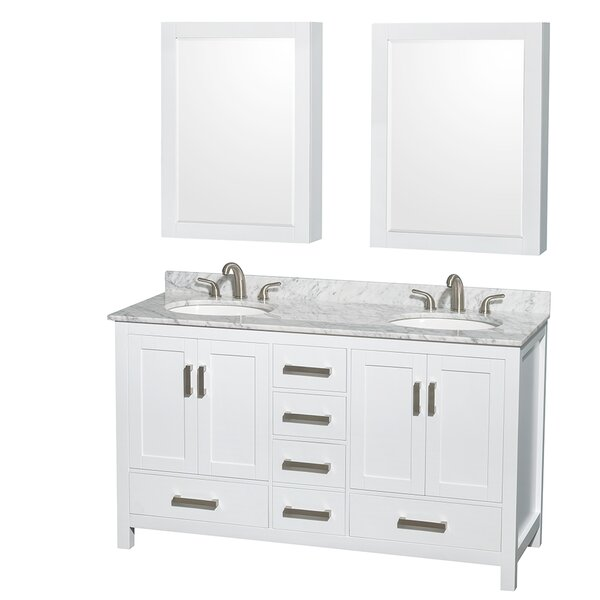 Sheffield 60 Double White Bathroom Vanity Set with Medicine Cabinet by Wyndham Collection