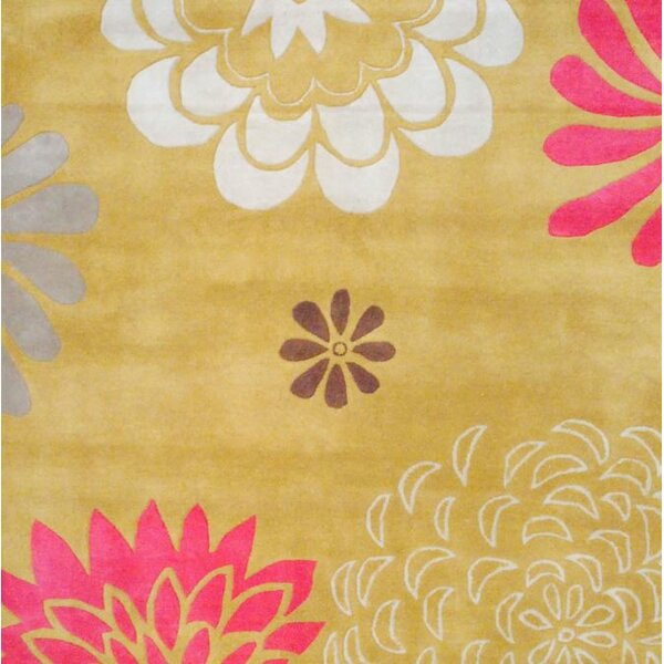 Hand-Tufted Gold/Ivory Area Rug by Herat Oriental