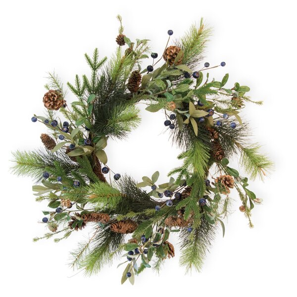 Blueberry and Pinecone 24 Wreath by The Holiday Aisle