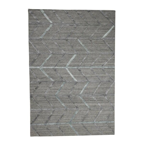 One-of-a-Kind Nebeker Modern Arrow Hand-Knotted Silk Gray Area Rug by Williston Forge