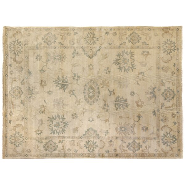 Oushak Hand-Knotted Wool Ivory Area Rug by Exquisite Rugs