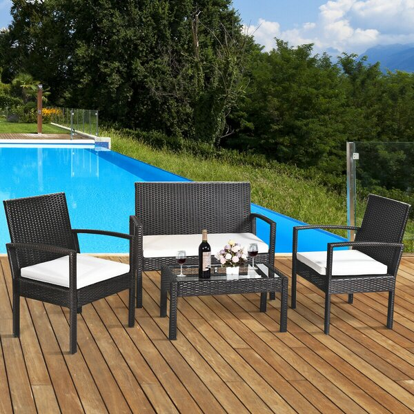 Derron Patio 4 Piece Rattan Sofa Seating Group with Cushions by Latitude Run