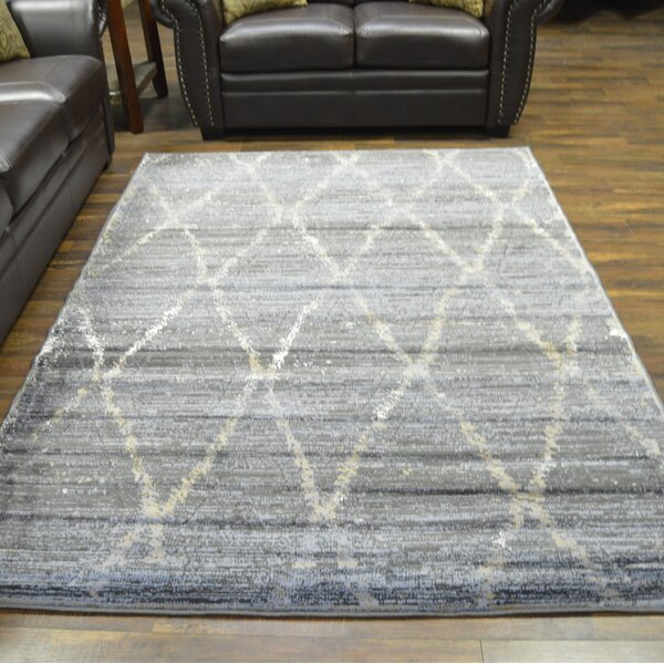 Carrizales Trellis Moroccan Modern Gray/Ivory Area Rug by Wrought Studio