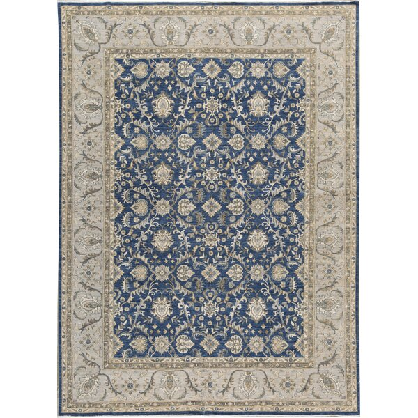 Ziegler Oriental Hand-Knotted Wool Blue/Gray Area Rug