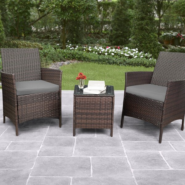 Camelopardalis 3 Piece Rattan Seating Group With Cushions By Latitude Run by Latitude Run Wonderful