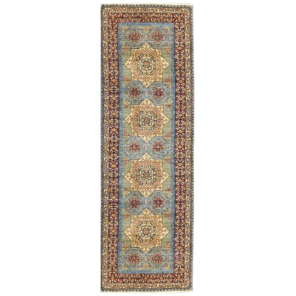 One-of-a-Kind Signature Mamluk Handwoven Runner 2'10 x 8'10 Wool Blue/Red/Ivory Area Rug
