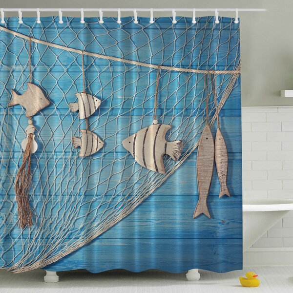Fish Net Print Shower Curtain by Ambesonne