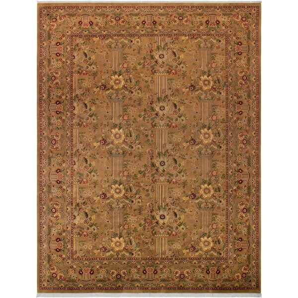 One-of-a-Kind Delron Hand-Knotted Wool Tan/Aubergine Area Rug by Astoria Grand