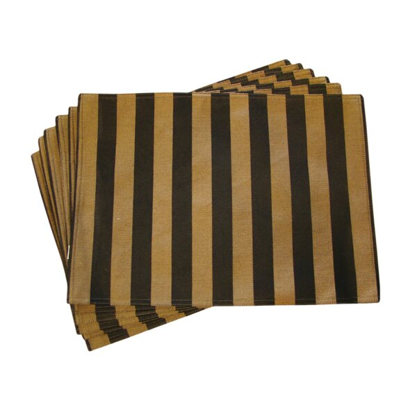 Lined Jacquard Stripe Placemat (Set of 6) by Textiles Plus Inc.