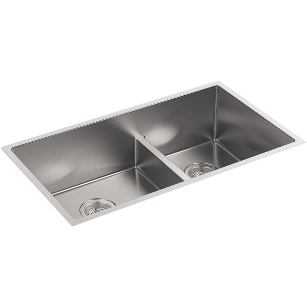 Strive 32 L x 18-5/16 W x 9-5/16 Smart Divide Under-Mount Large/Medium Double-Bowl Kitchen Sink with Basin Rack by Kohler