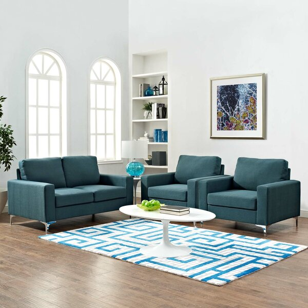 Hollander 3 Piece Living Room Set by Orren Ellis